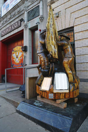 BROOKLYN, NEW YORK - MARCH 22, 2015 : Fallen firefighters memorial in the front of New York City Fire Department Squad Company 1 in Brooklyn, NY.