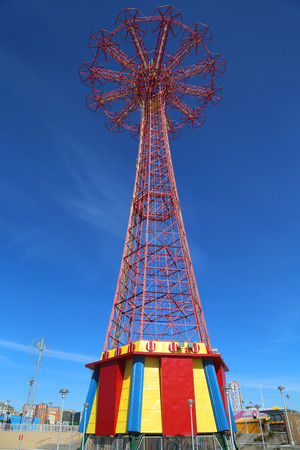 BROOKLYN, NEW YORK - MARCH 19, 2015: Parachute jump tower - famous Coney Island landmark in Brooklyn. It has been called the Eiffel Tower of Brooklyn