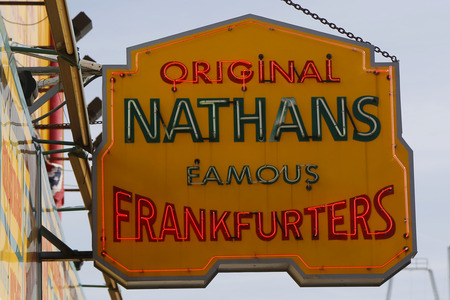 19's: BROOKLYN, NEW YORK - MARCH 19, 2015 : The Nathan s original restaurant sign at Coney Island, New York. The original Nathan s still exists on the same site that it did in 1916. Editorial