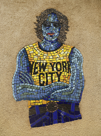 manhattan project: NEW YORK - MARCH 26, 2015: Mosaic street art by artist Manny Vega at East Harlem in New York