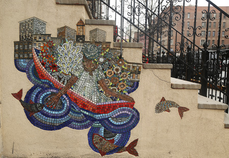 NEW YORK - MARCH 26, 2015: Mosaic street art by artist Manny Vega at East Harlem in New York