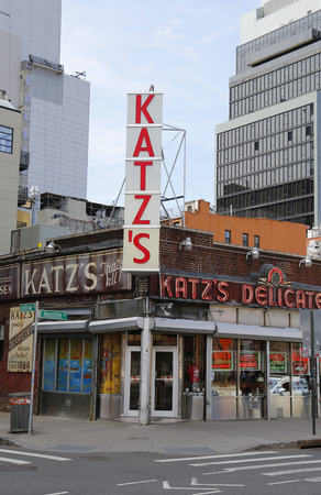 est: NEW YORK  - APRIL 14, 2015: Historical Katz s Delicatessen (est. 1888), a famous restaurant, known for its Pastrami sandwiches in Lower East Side in Manhattan