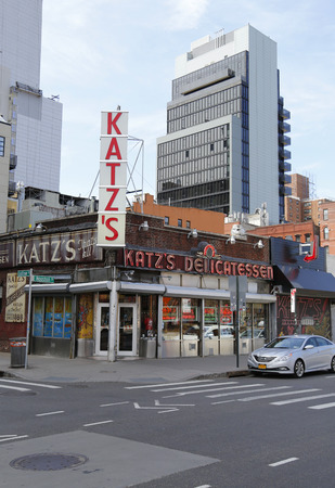 lower east side: NEW YORK  - APRIL 14, 2015: Historical Katz s Delicatessen (est. 1888), a famous restaurant, known for its Pastrami sandwiches in Lower East Side in Manhattan