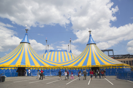 arts and entertainment: NEW YORK - MAY 18, 2014: Cirque du Soleil circus tent at Citi Field in New York. It is a Canadian entertainment company, a mix of circus arts and street entertainment based in Montreal