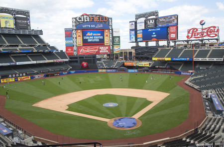 big game: FLUSHING, NY - MAY 18, 2014: Citi Field, home of major league baseball team the New York Mets. This stadium was opened in 2009 in Flushing, NY. Editorial