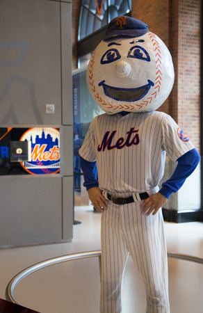 flushing: FLUSHING, NY - MAY 18, 2014: New York Mets mascot, Mr. Met, on display at the  Citi Field, home of major league baseball team the New York Mets. This stadium was opened in 2009 in Flushing, NY.