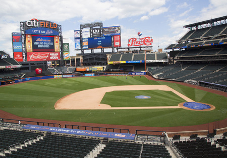 sports field: FLUSHING, NY - MAY 18, 2014: Citi Field, home of major league baseball team the New York Mets. This stadium was opened in 2009 in Flushing, NY. Editorial