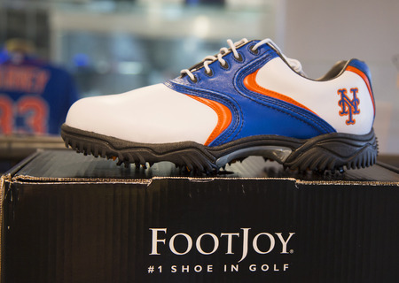 flushing: FLUSHING, NY - MAY 18, 2014: FootJoy golf shoes with New York Mets logo on display at the  Citi Field, home of major league baseball team the New York Mets. Editorial