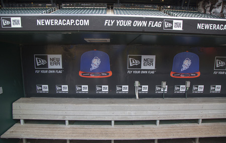 baseball dugout: FLUSHING, NY - MAY 18, 2014: Dugout at Citi Field, home of major league baseball team the New York Mets. This stadium was opened in 2009 in Flushing, NY