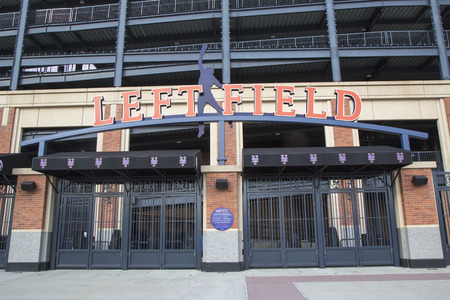 flushing: FLUSHING, NY - MAY 18, 2014: Left field entrance at the Citi Field, home of major league baseball team the New York Mets in Flushing, NY.