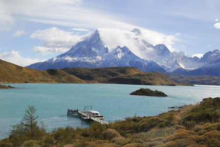 alpenglow: The Cuernos del Paine Horns of Paine and Lake Pehoe inTorres del Paine National Park Patagonia Chile