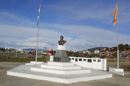 the liberator: USHUAIA ARGENTINA  APRIL 2 2015:  Monument to the liberator Jose de San Martin in Ushuaia Argentina.