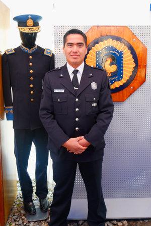 federal police: USHUAIA ARGENTINA  APRIL 2 2015:  Argentinian Federal Police Officer in Ushuaia Argentina during  Malvinas Day Celebration