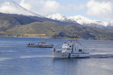 huapi: USHUAIA ARGENTINA  APRIL 2 2015: Argentinian Coast Guard boats GC 67 Rio Uruguay and GC 151 Nahuel Huapi the Naval Prefecture Argentina in Ushuaia Harbor during Malvinas Day Celebration