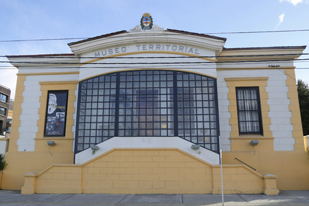 best travel destinations: USHUAIA, ARGENTINA - APRIL 2, 2015:Territorial Museum in Ushuaia, Tierra del Fuego. It also known as The End of the World Museum or Museo del Fin del Mundo