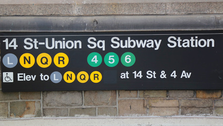 subway entrance: NEW YORK CITY - MAY 7, 2015 Union Square Subway Station entrance at 14th Street in NYC. Owned by the NYC Transit Authority, the subway system has 469 stations in operation Editorial