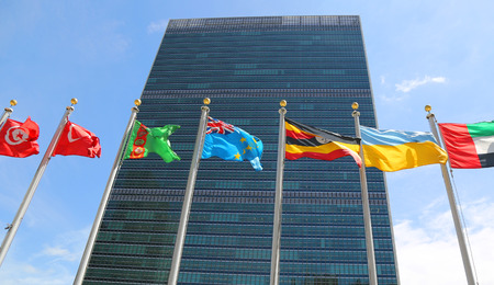 nations: International Flags in the front of United Nations Headquarter in New York