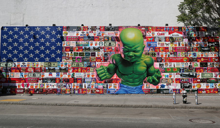 bowery: NEW YORK  MAY 14 2015: New Tempertot mural by famous street artist Ron English at Houston Street in Manhattan