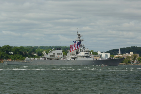 destroyer: NEW YORK  MAY 20 2015: USS Stout guided missile destroyer of the United States Navy during parade of ships at Fleet Week 2015 in New York Harbor