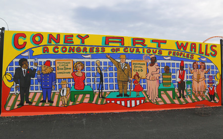 coney: NEW YORK  JUNE 4 2015: Mural art at new street art attraction Coney Art Walls at Coney Island section in Brooklyn.