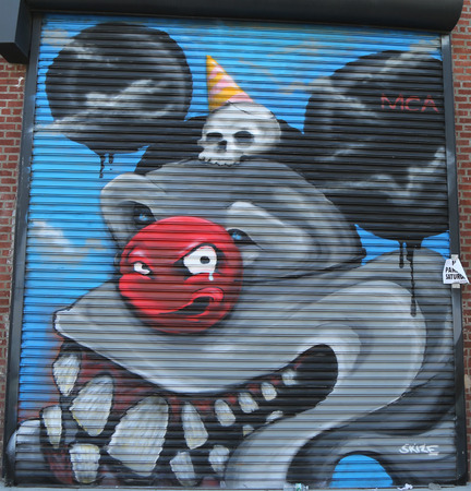 NEW YORK  JUNE 6 2015: Mural art at East Williamsburg in Brooklyn.Outdoor art gallery known as the Bushwick Collective has most diverse collection of street art in Brooklyn Editorial
