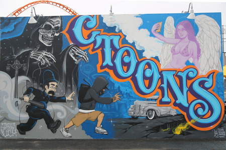 coney: NEW YORK  JUNE 20 2015: Mural art at the new street art attraction Coney Art Walls at Coney Island section in Brooklyn