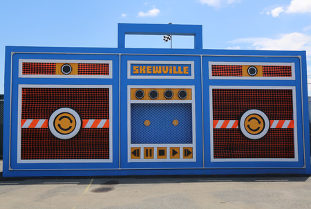 boom box: NEW YORK  JUNE 21 2015: The Skewville twins completed their freestanding monster boom box at the new street art attraction Coney Art Walls at Coney Island section in Brooklyn