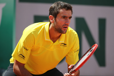 grand slam: PARIS FRANCE MAY 30 2015: Grand Slam Champion Marin Cilic of Croatia in action during his third round match at Roland Garros 2015 in Paris France