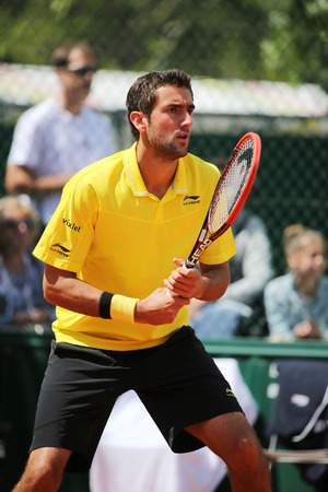 marin: PARIS FRANCE MAY 30 2015: Grand Slam Champion Marin Cilic of Croatia in action during his third round match at Roland Garros 2015 in Paris France