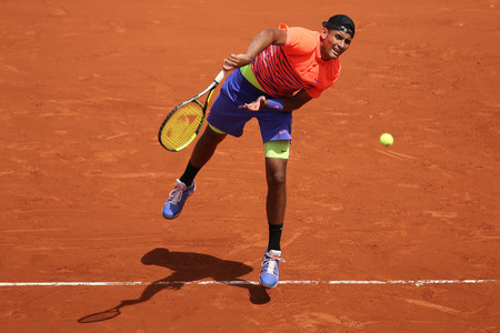grand slam: PARIS FRANCE MAY 30 2015: Professional tennis player Nick Kyrgios of Australia in action during his third round match at Roland Garros 2015 in Paris France Editorial