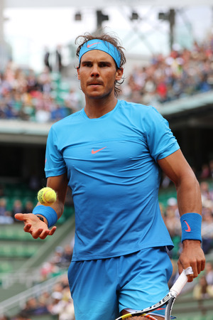PARIS FRANCE MAY 28 2015:Fourteen times Grand Slam champion Rafael Nadal in action during second round match at Roland Garros 2015 in Paris France Editorial