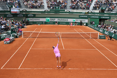 grand slam: PARIS, FRANCE- MAY 29, 2015:Two times Grand Slam champion Victoria Azarenka of Belarus during second round match at Roland Garros 2015 in Paris, France