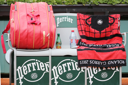 personalized: Nineteen times Grand Slam champion Serena Willams personalized Wilson tennis bag at Roland Garros Editorial