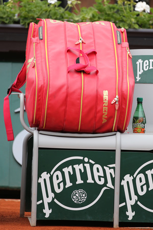 personalized: PARIS, FRANCE- MAY 28, 2015: Nineteen times Grand Slam champion Serena Willams personalized Wilson tennis bag at Roland Garros 2015 in Paris, France