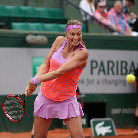 grand slam: PARIS, FRANCE- MAY 28, 2015:Two times Grand Slam champion Petra Kvitova in action during her second round match at Roland Garros 2015 in Paris, France