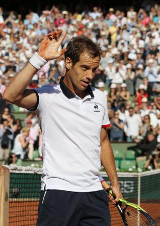 richard: PARIS, FRANCE- MAY 30, 2015: Professional tennis player Richard Gasquet during third round match at Roland Garros 2015 in Paris, France
