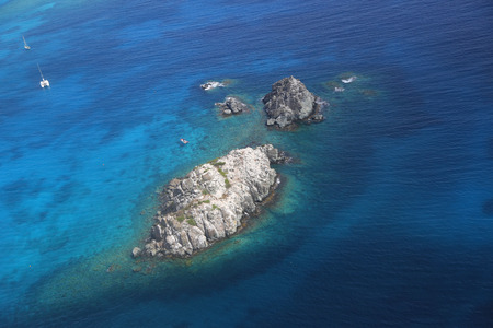inhibited: Ariel view of inhibited island at Caribbean