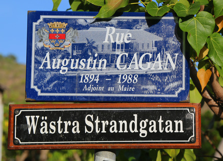 Street signs in St. Barths posted in Swedish along with their French name