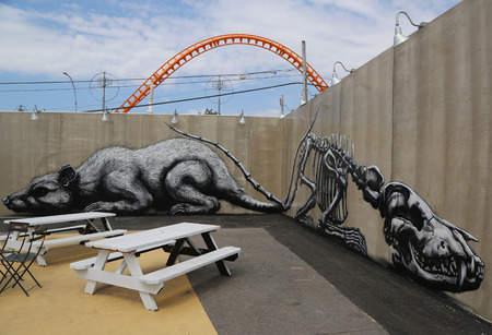 NEW YORK - JUNE 30, 2015: Mural art at the new street art attraction Coney Art Walls at Coney Island section in Brooklyn
