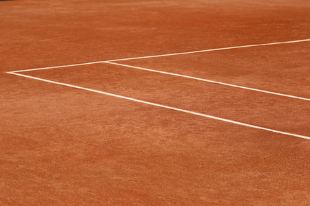 red clay: Red clay tennis court Stock Photo