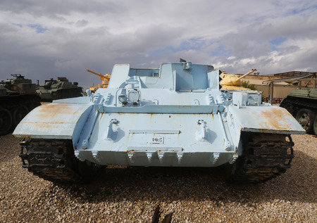 commissioned: LATRUN, ISRAEL - NOVEMBER 27, 2014: T-54 armoured personnel carrier on display at Yad La-Shiryon Armored Corps Museum at Latrun Editorial