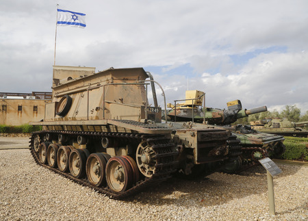 armoured: LATRUN, ISRAEL - NOVEMBER 27, 2014 : Centurion Beach Armoured Recovery Vehicle on display at Yad La-Shiryon Armored Corps Museum at Latrun