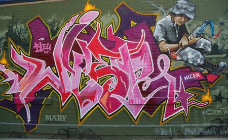 lower east side: NEW YORK - JUNE 16, 2015: Graffiti art at Lower East Side in  Manhattan.