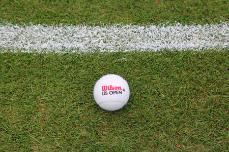 NEW YORK - JULY 21, 2015:  Wilson US Open Tennis Ball on grass tennis court. Wilson is the Official Ball of the US Open since 1979