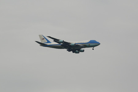 united states air force: NEW YORK - JULY 21, 2015: United States Air Force One aircraft carrying the President of the United States Barack Obama descending for landing at JFK Airport in New York