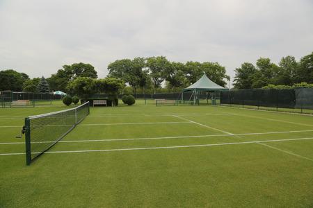 Grass tennis courts Stock Photo