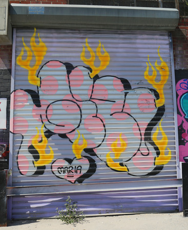 NEW YORK - JULY 23, 2015: Graffiti art at East Williamsburg in Brooklyn.Outdoor art gallery known as the Bushwick Collective has most diverse collection of street art in Brooklyn Reklamní fotografie - 42618729