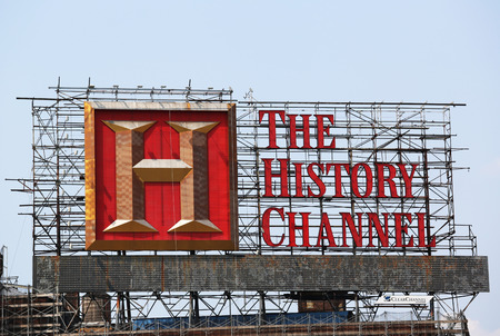 NEW YORK - JULY 5, 2015: The History Channel billboard located near the Triborough Bridge in New York