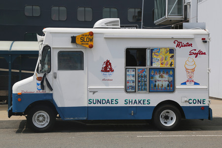 BROOKLYN, NY - JUNE 30, 2015: Ice cream truck in Brooklyn. Mister Softee is a United States-based ice cream truck franchisor popular in the Northeast founded in 1956 Editorial