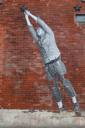 stencil art: NEW YORK - JUNE 30, 2015: Stencil art in Red Hook section of Brooklyn. Editorial